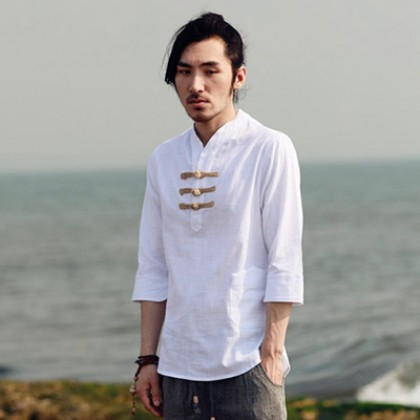 Men Chinese Collar Mid Length Sleeve Slim Fit Casual Plus Size Shirt