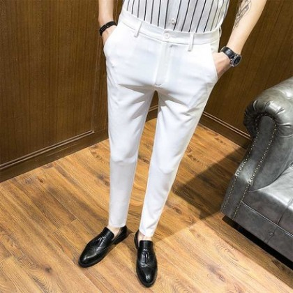 Men Office Wear Casual Attire Suit Pants Slim Fit Trouser