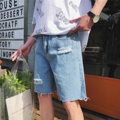 Men Hong Kong Fashion Loose Tattered Look Trend Summer Short Jeans