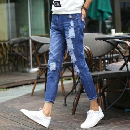 Men Street Wear Fashion Tattered Look Cool Cropped Jeans