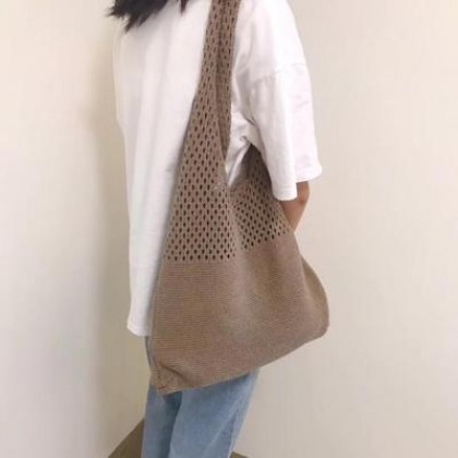 Women Basic Knitted Simple Fashion Shoulder Bag