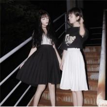 Plain A-Shape Pleated Skirts