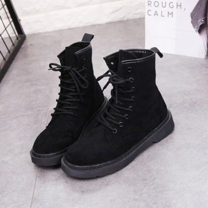 Women Flat Heel Martin Boots Lace Up Ankle Boots