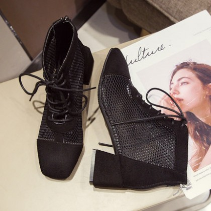 Women Mesh Breathable Low Cut Cute Style Ankle Booties