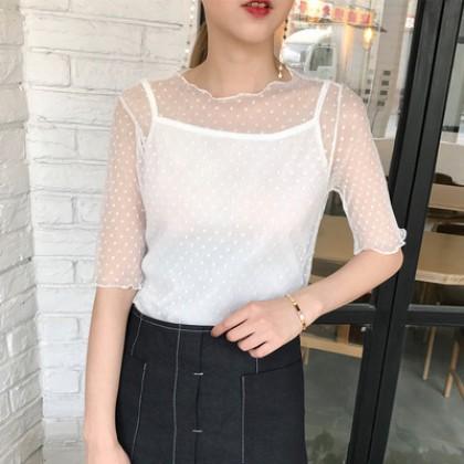 Women Mesh Lace Plus Undershirt Fairy Fashion Summer Tops