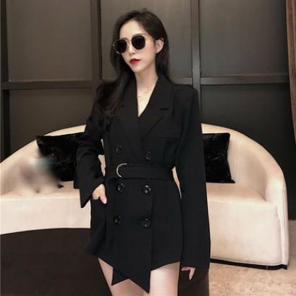 Women Double Breasted Lapel Collar Fashion Blazer Jacket