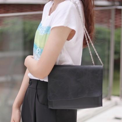 Women Black Fine Chain Leather Ladies Basic Shoulder Bag