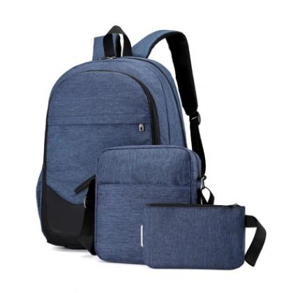 Men Pro Student Backpack Set Computer Unisex Fashion Bags