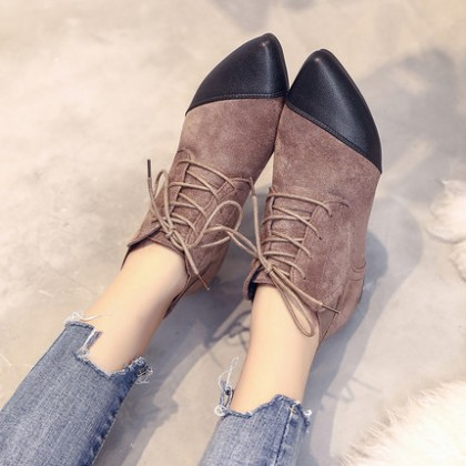 Women Deep Mouth Suede Fashion Lace Up Low Heel Boots