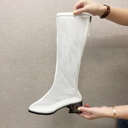 Women Breathable Mesh Super Comfort Fashion Plus Size Knee Boots