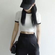 Slim short-sleeved Cotton T-shirt
