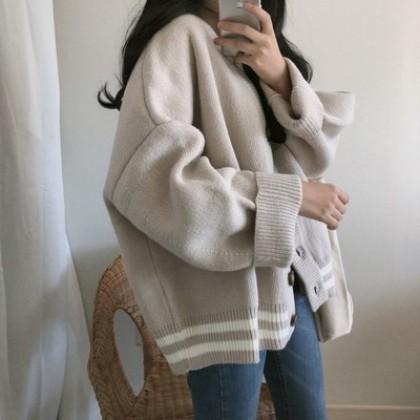 Women Loose Knitted Wild Fashion Sweater Cardigan