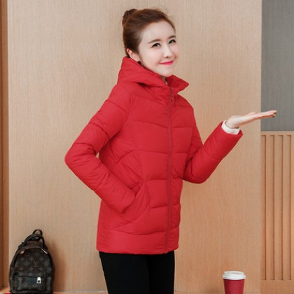 Women Cotton Padded Winter Fashion Plus Size Hoodie Jacket