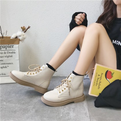 Women Classic Martin Boots Lace Up Flat Ankle Boots