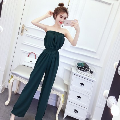 Women Classy Tube Top Stretch Waist Cute Fashion Pants Jumpsuit