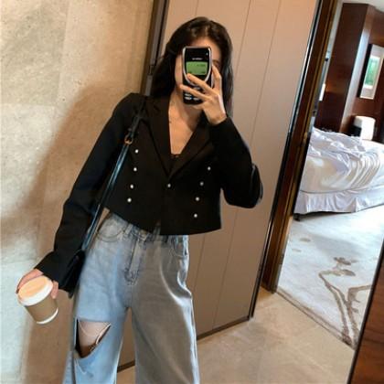 Women Black Long Sleeve Retro Fashion Cardigan Jacket
