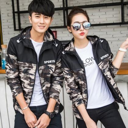 Men Camouflage Winter Sweet Lover Fashion Couple Jacket