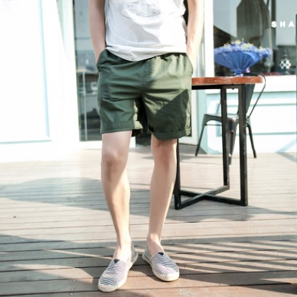 Men Solid Color Casual Chino Shorts Fashion Plus Size Bottoms