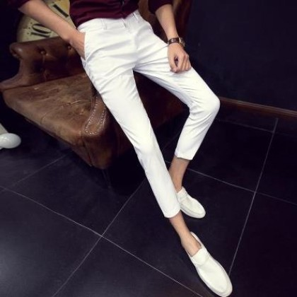 Men Slim Fit Casual Fashion Cropped Pants Everyday Trousers