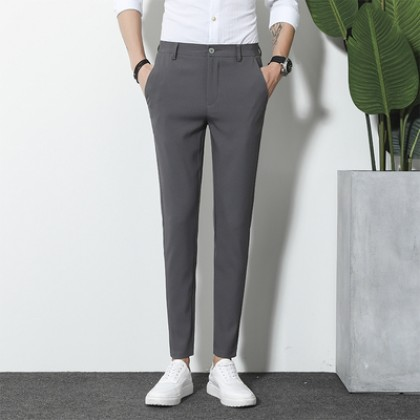 Men Straight Cut Formal Attire Fashion Office Trousers