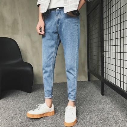 Men Semi Slim Denim Cropped Pants Retro Style Fashion Jeans