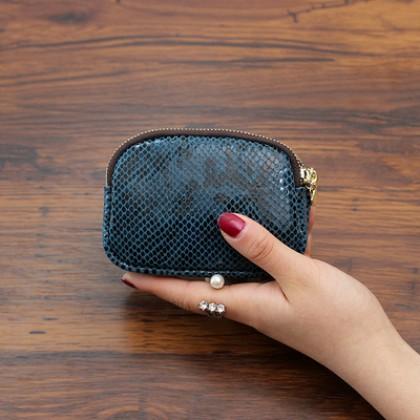 Women Snake Skin Double Zipper Design Fashion Coin Purse