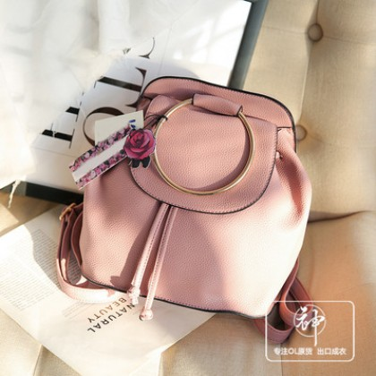 Women Imported Cute Pink Round Buckle Fashion Backpack