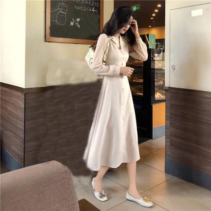 Women French Retro Vintage Autumn Tieback Long-Sleeved Mid-Length Dress