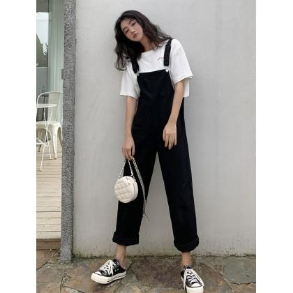 Women Loose Straight Pants Wide Leg Highwaist Jeans Overalls Jumpsuit