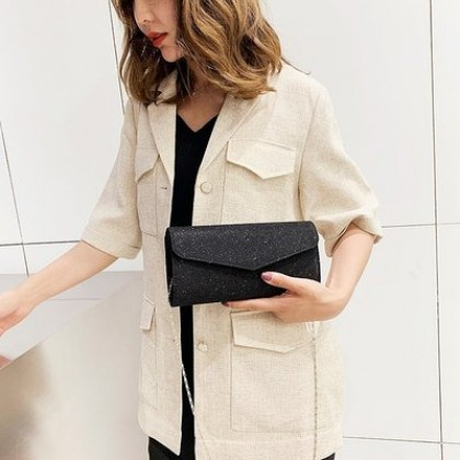 Women Small Evening Fashion Classic Glitter Clutch Bag Purse