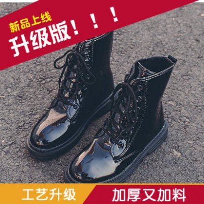 Women Thick Soled Motorcycle Lace-Up Boots