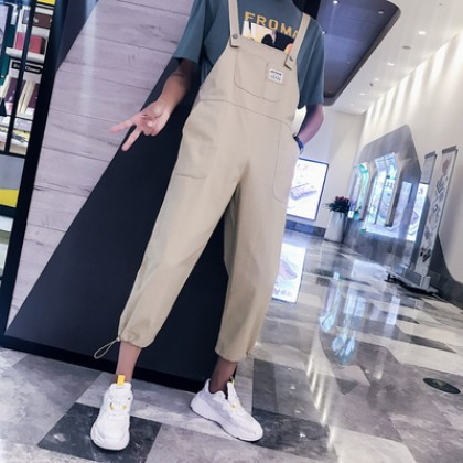Women and Men Couple Cropped Pants Overalls Jumpsuit