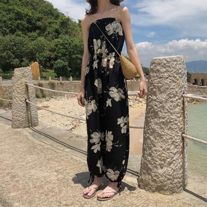 Women Strapless Floral Highwaist Wide Leg Trousers Jumpsuit Pants