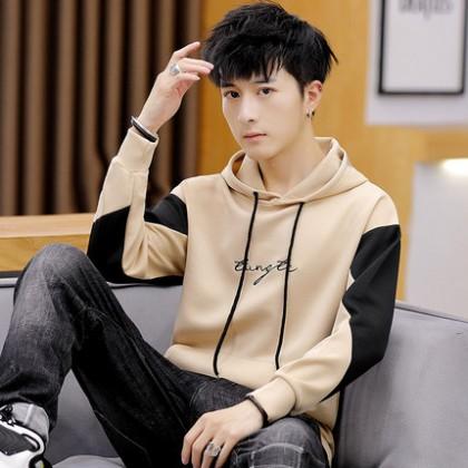Men Autumn Winter Fashion Hooded Long-Sleeved Sweater Jacket