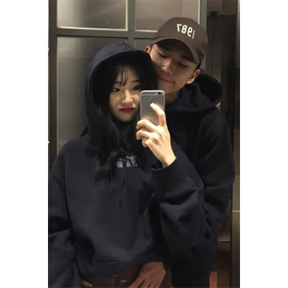 Men and Women Couple Thin and Plus Velvet Thickening Hoodie Sweater Jacket