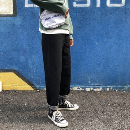 Men Retro Street Fashion Big Loose Denim Straight Wide Leg Jeans