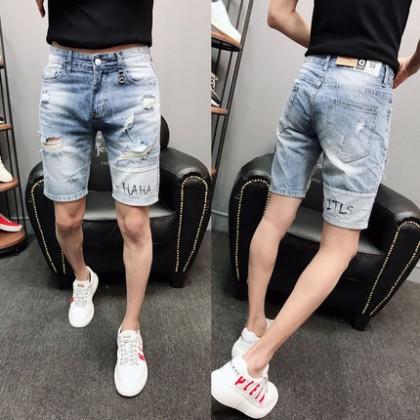 Men Casual Summer Fashion Small Denim Ripped Shorts