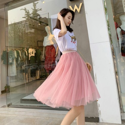 Women Spring and Summer Fashion Tulle Midi Skirt