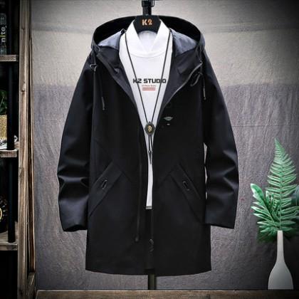 Men Coat  Overalls Long Windbreaker Jacket