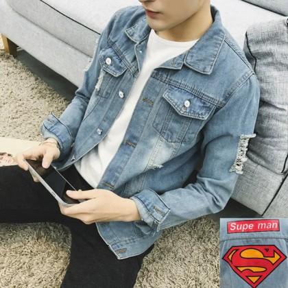 Men's Clothing Autumn Tight Skinny Handsome Denim Jacket Social Guy