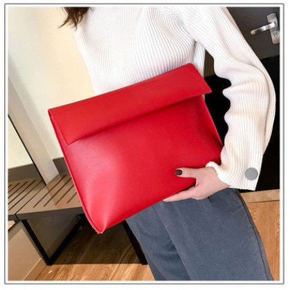 Women Minimalist Fashion Soft Leather Large Envelope Clutch Purse