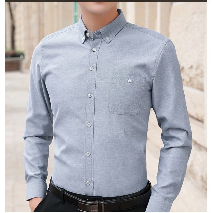 Men's Clothing Spring Oxford Men's Shirt Casual Long-sleeved