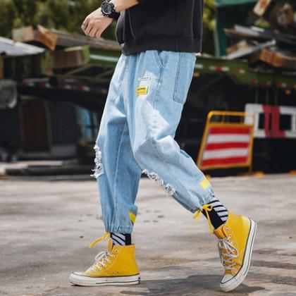 Men Retro Street Fashion Cropped Harem Tattered Pants Jeans