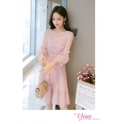 Women's Fairy Lace Skirt Fashion Waist Two-piece Mesh Midi Dress