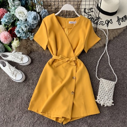 Women V-Neck Summer Casual Short Sleeve Jumpsuit