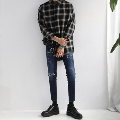 Men Casual Iron-free Mid-length Plaid Long Sleeves Shirt