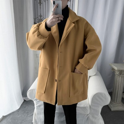 Men Casual  Loose Mid-length Woolen Coat