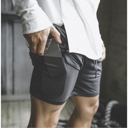 Men Fitness Thin Double-layer stretch Quick-drying Sports Shorts