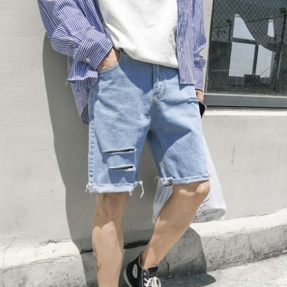 Men Casual Tattered Loose Denim Shorts