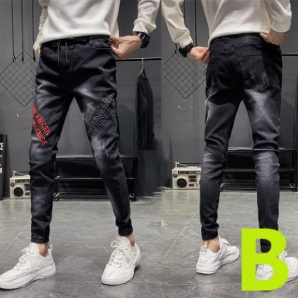 Men Casual Cropped Slim Fit Pencil Pants Jeans